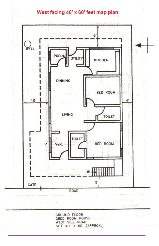 House plan as per vastu for 40x40 feet west facing plot for 40x40 house plans